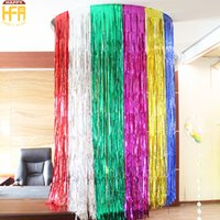 Wholesale Wall Decoration For Bar - Coloured Ribbon Color Bar Wedding Birthday Party Decoration Balloon Tassels Wall Layout Tassels For Christmas Party 2M Mixed Color