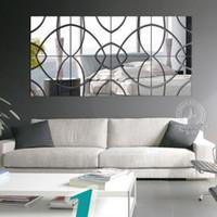 Wholesale Diy Bling Stickers - New Fashion 7PC LOT 25x25cm Bling Bling Acrylic 3D Wall Sticker Mosaic Mirror Effect Sofa Room Home Decor DIY
