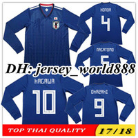 Wholesale Japan 18 - TOP QUALITY 2018 World Cup Japan home blue soccer jersey Long sleeves 2017 OKAZAKI KAGAWA HASEBE NAGATOMO 17 18 Japan away football shirts