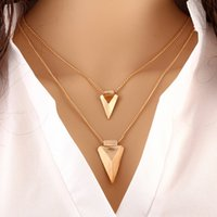 Wholesale Triangular Metal Necklace - Wholesale-2016 SUPIN Fashion Metal Triangular Multilayer Beads Link Chain Gold Plated Necklaces Simple Clothing Accessories Steel Necklace