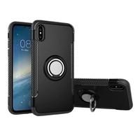 магнитный кейс оптовых-Для Iphone XS MAX Ring Автомобильный телефон Чехол Магнитный чехол для мобильного телефона Для Iphone XR X 8 7 Plus Samsung Note 9 8 S9 S8 Plus J4 J6 2018 OPP