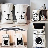 Wholesale Hanging Wall Pouch - 9 Styles INS Baby Laundry Bag Large Canvas Bear Laundry Hanging Drawstring Bags Baby Toys Cartoon Storage Pouch CCA7096 20pcs