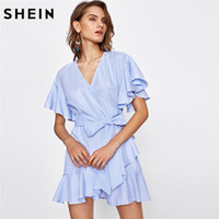 All'ingrosso - SHEIN Women Dress Summer 2017 Frill Detail Surplice Wrap Abito a righe Ladies Deep V Neck Manica corta A Line Dress