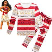 Wholesale Pajamas Long Sleeve Baby Sleepwear - moana kids clothing set maui Pajamas baby girl outfits kids sleepwear nightwear homewear Moana Clothing Sets KKA2377