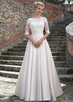 Wholesale Detachable Bridal Jacket - Sincerity Bridal 2016 Wedding Dresses with Detachable Lace Jacket Elegant A Line Bridal Gowns Lace Satin Vestido De Noiva Custom Made