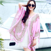 Wholesale Long Scarves For Summer - Summer Beach Sun Protection Shawls For Women Ladies Chiffon Snood Long Scarf Wraps Shawl With Button Scarf Wraps
