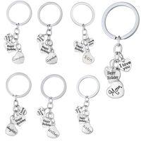 Wholesale happy woman - I Love You Dad Mon Grandma Grandpa Son Daughter Happy Birthday Keychain key Rings Heart Charm Fashion Jewelry Gift Drop Shipping