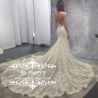 Wholesale Eve Milady Dresses - Exquisite Full Lace Low Back Mermaid Wedding Dresses 2017 Sexy Backless Eve of Milady Crystal Sequined Plus Size Court Train Bridal Gowns