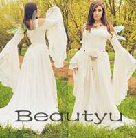 Wholesale Sexy Renaissance Wedding Dresses - Renaissance Gothic Lace Plus Size Wedding Dresses A Line Bell Long Sleeve Celtic Medieval Bridal Gown 2018 Country Beach Vestido De Novia