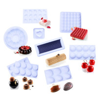 Wholesale Silicone Tart Pans - Silicone Molds Cake Pan Making Mousse Baking Mold Round Garland Bubble Stone Tart Love Heart Quenelle Shape 3D DIY Dessert Mould