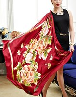Wholesale Butterfly Scarf Silk Flower - 2016 NEW!Flower Butterfly Pattern Women Big Square Scarves,100% Pure Silk Satin Red Lady Scarf,Fashion Women's Printed Shawl 110*110CM