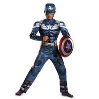 Wholesale Halloween Costume Captain America - 2016 Boys Captain America Movie 2 Classic Muscle Halloween Superhero Avengers Winter Soldier Kids Cosplay Costume