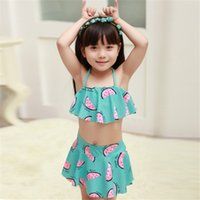 Wholesale Swimming Clothes Children - Two pieces Swimwear Kids Bikini Girls Swimsuit Children watermelon Swimming suit princess Bathing suit Baby Summer Clothes Clothing Gift new