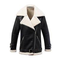 Wholesale lamb leather coats women - 2017 winter clothing lamb wool Fur clothing Fur one Leather coat women casual jackets coat motorcycle clothing leather coat female