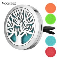 Wholesale Family Locket - 30mm Stainless Steel Car Air Freshener Perfume Essential Oil Scent Locket Jewelry Family Tree without Felt Pads VA-509