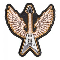 Wholesale guitar fly v online - Gray Flying V Bass Guitar Patch Musical Instruments Iron On Or Sew On Embroidered Patches INCH
