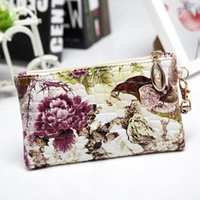 Peacock voa com as flores Padrão de pedra Cell Phone Pocket Moneda Monedero Pocket Coin Wallet Coin Case With wristlet