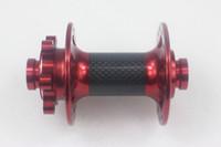 mountainbike frontbremse großhandel-Powerway M64 Scheibenbremse Mountainbike Carbon-Legierung Vorderradnabe 100mm M15 bis 15mm durchgehende Achse schwarz rot 24 28 32 Löcher MTB XC AM ENDURO