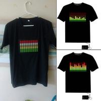 Wholesale Led T Shirt Wholesale - Wholesale- Sound Activated Light Up Flashing Rock Disco Equalizer Short Sleeve LED T-Shirt