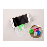Wholesale cell wall color - Wholesale Best price Cute Cell Mobile Phone with charging bracket lazy charger On Wall Charger Holder for phone charger Bracket