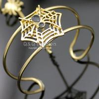 Wholesale Halloween Bracelet Spider - Rare Black Spider & Web Cobweb Chain Hand Harness Bracelet Bangle Cuff Ring W8