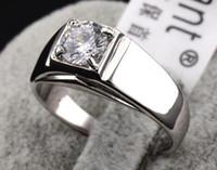 Wholesale Ring Laser Engraving - Men's hearts and arrows finger ring,Swarovski crystal Ring jewelry Laser engraving 18k gold plated male rings,fashion