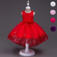 Wholesale Trailing Flowers - Girls Lace Trailing Flower Girls Dress Bow Kids Sequins High Low Party Prom Dress Children Clothes