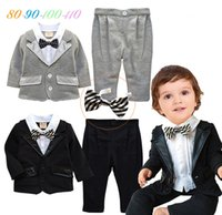 Wholesale Shirts For Boys Jacket - Hug Me Boys Outfits and Sets Newborn Boys Spring Long Sleeve Shirt + Jacket + pants with Stripe Bow for Boys Clothes MC-1001