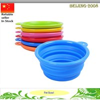 Wholesale Travel Pet Food Bowls - Portable Fashion Pet Silicone Collapsible Feeding Feed Water Feeders Foldable Dog Cat Travel Food Bowls Dish 6 colors