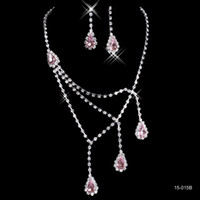 Wholesale Crystal Necklace Settings - Pink Rhinestone Bridal Jewelry Sets Earrings Necklace Crystal Bridal Prom Party Pageant Girls Wedding Accessories Free Shipping 15015B
