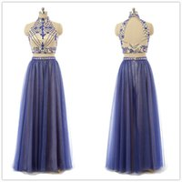 Wholesale Two Piece Evening Gowns Online - Modest Royal Blue Halter Top Prom Dresses Long 2016 Sheath Crystal 2 Piece Prom Dress Chiffon Special Occasion Pageant Evening Gowns Online