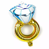 Wholesale Yellow Diamond Engagement Ring Wholesale - New 30 inch Lover Wedding Marriage Balloon Diamond Balloon Bride Ring Engagement Foil Valentine Balloons Party Toys