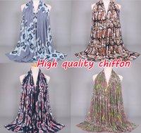 Wholesale New Girls Muffler Styles - 15 Design, fashion new style high quanlity chiffon scarf print pattern popular thin headband autumn muslim hijab shawls Muffler 10pcs lot