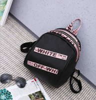 Wholesale Panties Off - 2017 off white Letter banded shoulder bag Korean casual large capacity Oxford cloth backpack student bag panties