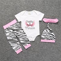 Wholesale Cheap Toddler Hats - sweet baby girl short sleeves romper suit include pants hat headband 4pcs clothing set for toddler babe girl summer clothes cheap wholesale