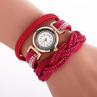 заплетенные кожаные часы оптовых-Женские часы с бриллиантами Full Crystal Bracelet Watch Luxury Кристалл Плетеный длинный кожаный ремешок Кварцевые наручные часы Часы