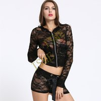Wholesale Wear Costume Sex - sexy costumes sexy underwear intimate women Long-sleeved black lace sexy lingerie suit sex products set nightdress club wear