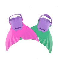 Wholesale Children Swimming - Cute Kid Children Swimming Fins Mermaid Swim Fin Swimming Foot Flipper Training Shoes Tail Diving Feet Tail Monofin Wholesale 2506016