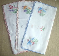 Wholesale Vintage Style Handkerchiefs - Vintage style COTTON HANKY Flower HANDKERCHIEF with embroidered edge 12""