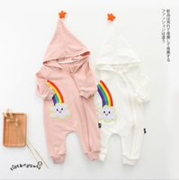 Wholesale Boys Hoodies Size - INS 2 colors New fall infant Kids romper Long Sleeve Cartoon Rainbow Hoodie romper high quality cotton baby autumn Climb romper free ship