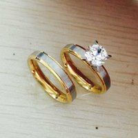 Wholesale Promises Rings For Couples - 4mm titanium Steel CZ rhinestone Korean Couple Rings Set for Men Women Engagement Lovers,his and hers promise,2 tone gold silver