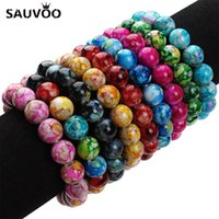 2017 New Handmade Natural Stone Stretch Beaded Bracciali per le donne Fashion Candy Colors 12mm Beads Resina Bracciale 20 cm 1 pz F2837