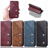 Wholesale Note Holster Wallet - For iPhone X Retro Luxury Leather Wallet Holster with Stand Holder and card slots For iPhone 8 7 6 6S Plus Sumsung Note 8 S8 Plus