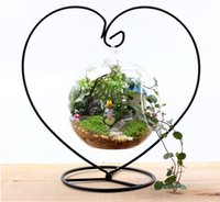 Wholesale Glass Container Vases - 12cm Heart Glass Hanging Planter Terrarium Container Vase Pot Home Garden Decoration hydroponic Landscape bottle New Clear Hanging Glass