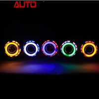 Wholesale Ccfl Car Headlights - Free Shipping 2.5 Inches CCFL Double Angel Eyes B-xenon Projector Lens Kit H4 H7 Quick Install LHD RHD for Car headlight