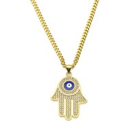Wholesale blue evil eye pendant resale online - New Blue Evil Eye pendant necklaces Hamsa Hand of Fatima Charm Long Cuban chains For women men Hip Hop Fashion Jewelry