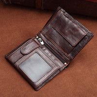 Wholesale New Mens Photos - New luxury designer men Genuine Leather Short wallets european purses for men Retro mens wallet Cow Leather Oil Wax leather wallet wholesale