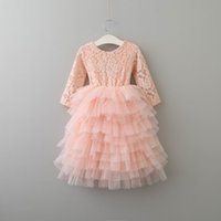 2017 New Girls Princess Dresses Long Sleeve Pink Lace Blossom Dress 5 Camadas Tiered Tulle Long Length 2-6Y E1942