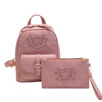 Wholesale Leather Backpack Purse New - Cute PU Leather Backpack Women Cat Cotton School Bags For Teenagers Backpacks Girls Hello Kitty Backpack And Purse Sac A Dos New