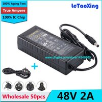 Wholesale Ac Dc 48v - 50pcs AC DC Adapter 48V 2A Power Supply 96W with Cord Cable For 5050 3528 LED Strip Light LED Display LCD Monitor With IC Chip